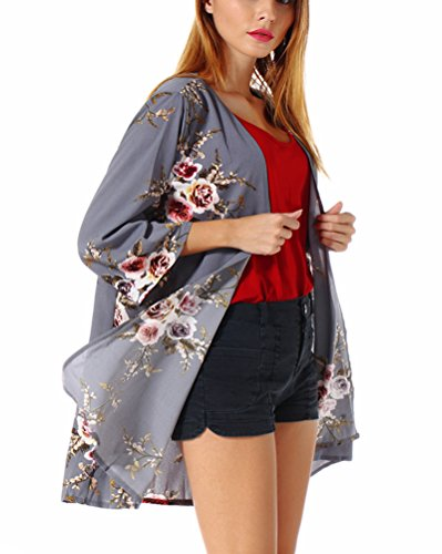 PopStore Women's Floral Print Sheer Kimono Cardigan Capes Chiffon 3/4 Sleeve Patchwork Casual Cover up Blouse Tops ()