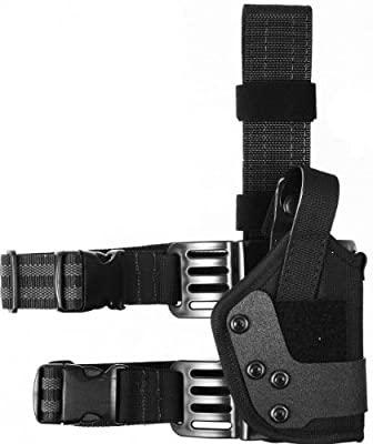 Uncle Mike's Law Enforcement Kodra Nylon Dual Retention Tactical Platform Drop-Leg Holster (Black, Size 18, Right Hand)