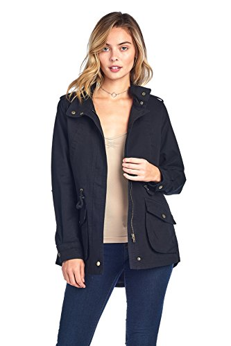 - Khanomak Women's High Neck Long Sleeve Drawstring Waist Long Cotton Utility Anorak Jacket (Medium, Black)