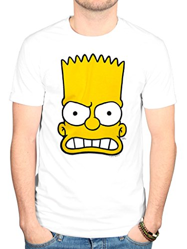 AWDIP Men's Official The Simpsons Bart Face T-Shirt Homer Simpson Lisa Marge Maggie Duff (Duff T-shirt Simpsons Beer)