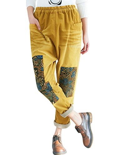 Youlee Femmes Taille lastique Sarouel Style 1 Jaune