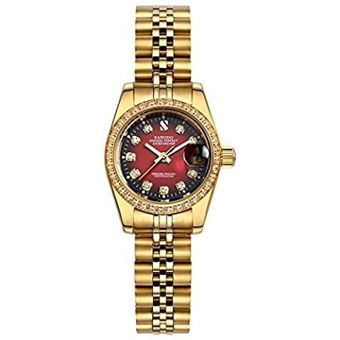 Topwatch® Sangdo Women's Diamond-Accented Bezel Red Dial steel Automatic Mechanical wrist Watch (Sangdo Automatic Watches)