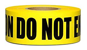 Yellow Caution Do Not Enter Barricade Tape 3 X 1000 • Bright Yellow with a bold Black Print for High Visibility • 3 in. wide for Maximum Readability • Tear Resistant Design