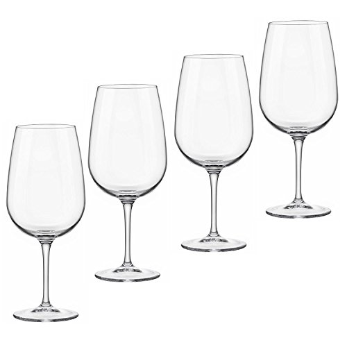 Bormioli Rocco Wine (Bormioli Rocco Spazio 17 oz. Large Wine Glass - Set of 4 - Great for Red Wine and White Wine - Great for Entertaining and as Gift - Lead Free Made in Italy Wine Glasses)