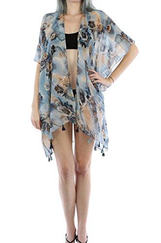 Essential Women's Open Asymmetrical Hem Vest Cardigan (FLORAL Sheer - (Halloween Safety Rhymes)