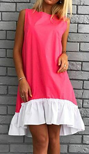 Dress Casual Rose Loose Spliced Sleeveless Ruffles Midi Womens Red Cromoncent 0wF5qHn