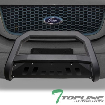 (Topline Autopart Matte Black AVT Style Bull Bar Brush Push Front Bumper Grill Grille Guard With Skid Plate For 98-11 Ford Ranger)