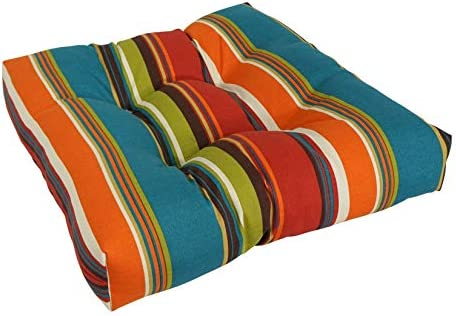 Blazing Needles Squared Patterned Spun Polyester Tufted Dining Chair Cushion