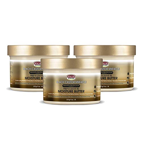 African Pride Black Castor Miracle Prep Leave-In Moisture Butter 3 Pack – Provides Lasting Moisture Protection to Hair, Contains Black Castor Oil, Shea Butter and Jojoba Oil, 8 oz