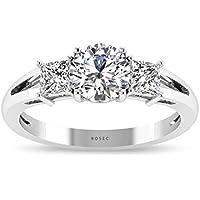 Anillo de compromiso de diamante de tres piedras (certificado IGI) con diamante de vástago dividido (claridad de color IJ-SI) para novia, anillo de diamante de corte redondo de princesa