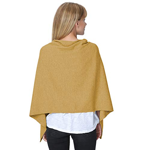 PULI Women's Versatile Knitted Scarf with Buttons Shawl Poncho Cape Cardigan, Khaki by Puli (Image #2)