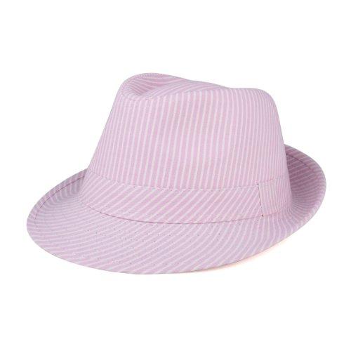 Women's Pinstripe Denim Fedora Hat-8914-Pink-S