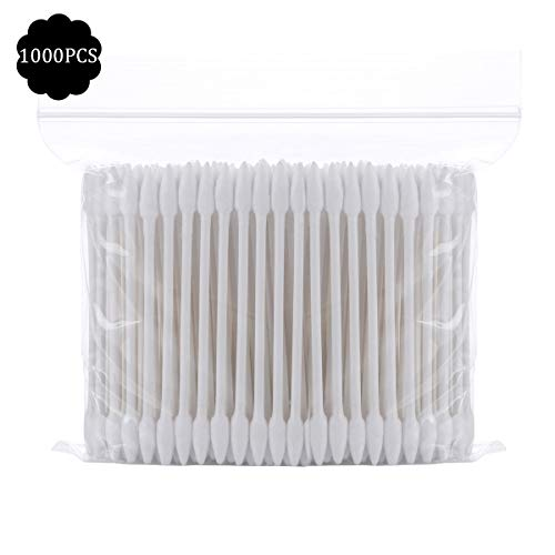 - 1000 Pieces Cotton Swabs,Double Precision Cotton Tips with Paper Stick pack of 5(Double-Pointed Shape)