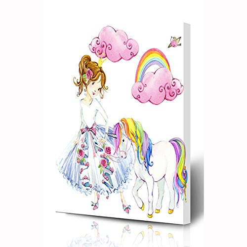 Ahawoso Canvas Prints Wall Art 8x10 Inches Rainbow Girl Princess Watercolor Unicorn Pink Sweet Cute Horse Pony Little Crown Wooden Frame Printing Home Living Room Office Bedroom