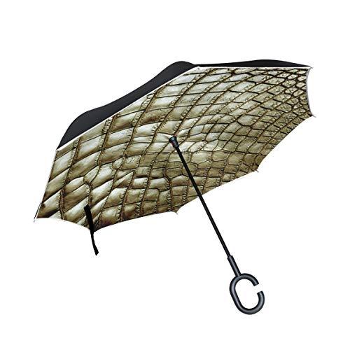 Light Brown Crocodile Alligator Skin Inverted Umbrella with C-Shaped Handle, Double Layer Polyester Fabric Reverse Folding Travel Car Umbrella