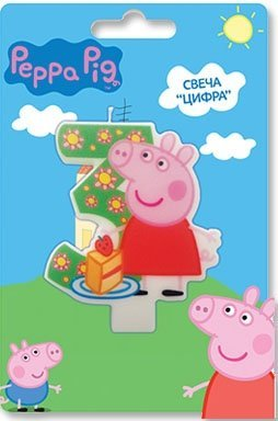 Peppa_pig Birthday Party Supplies Cake Topper Molded Colored Number 3 Candle Holiday Baking Dessert Cupcake Decorating Idea for Celebration Boy's or Girl's Bday Anniversary Kid's -