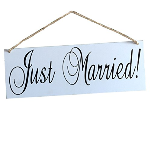 FENICAL Wooden JUST MARRIED Hanging Sign Wedding Hanging Board]()