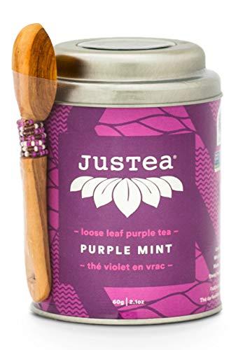 (JusTea PURPLE MINT   Loose Leaf Purple Tea with Hand Carved Tea Spoon   40+ cups 2.1 Ounce Tin   Low Caffeine   Award-Winning   Organic   Fair Trade  )