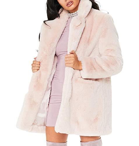 Xinheo Donne Cime Bavero Anteriore Caldo Rosa pelliccia Peluche Delle Eco Outwear Irsuto Aperta Ww8vzBWq