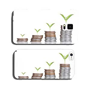 Plant growing out of coins , isolated on white background cell phone cover case iPhone5