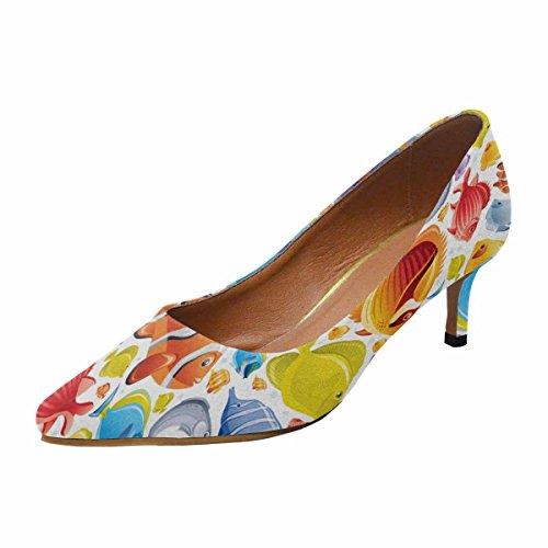 Scarpe Da Donna Low Cost Con Tacco Basso Gattino Scarpe A Punta Scarpe Colorate Pesci 10 B (m) Us