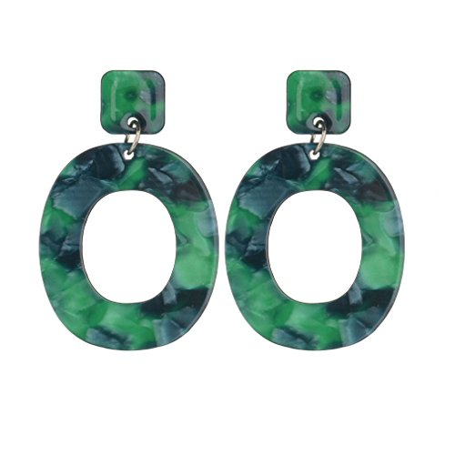 2 pcs Acrylic Earrings for Women Girls Cellulose Acetate Earrings Oval Pendient Fashion Jewelry (Green) ()