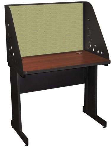 Pronto Pronto School Training Table with Carrel and Modesty Panel Back, 36W x 30D - Dark Neutral Finish and Peridot Fabric by Marvel Furniture