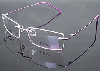 Purple UNI Memory Titanium Alloy Rimless Flexible Eyeglass Frame Optical Hinged Rx 1189