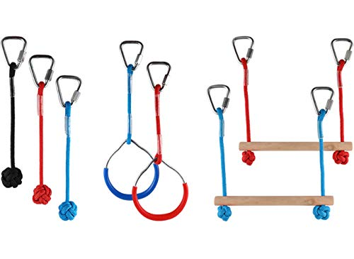 PACKGOUT Obstacle Course for Kids,7 Slackline Monkey Bar Kits Swinging Accessories for Ninja Line Obstacle Course - Hanging Attachments for Slackline Gym