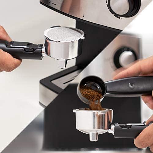 UFESA CE7240 Cafetière Expresso automatique 850 W, Réservoir d'eau amovible 1,6 L, 20 bars, Pompe, 2 options de préparation: café moulu et dosette,chauffe lait, démarrage rapide, acier inoxydable