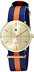 Lip Unisex 18729132 Panoramic Nato Gold-Tone Watch with Striped Nylon Band