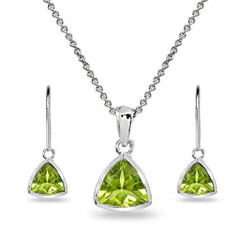 (Sterling Silver Peridot Trillion Bezel-Set Pendant Necklace & Dangle Earrings Set for Women, Teen Girls)