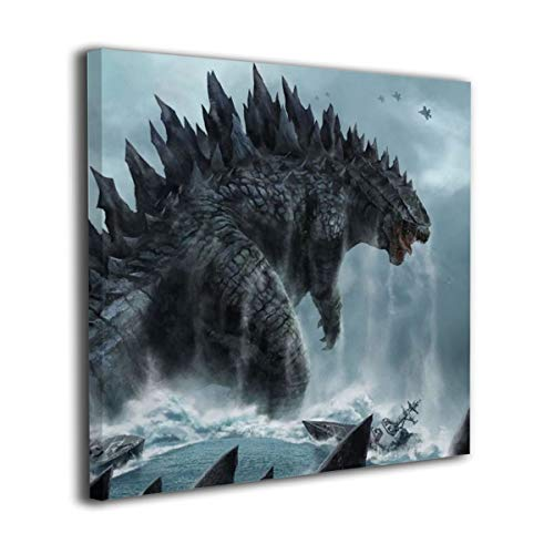 Little Monster Godzilla Sea Framed Painting On Canvas Home Decorations Modern Artwork Art for Child Bedroom Bathroom 36x36in