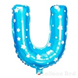 16 Inch Foil Mylar Balloons for Party Wall Decoration (Premium Quality, Non-Floatable), Blue Stars, Letter U