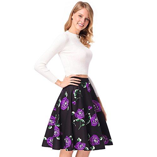 Longitud Una Morado de Mujeres Rodilla Estampado Falda Purple de Plisada Talle Alto Floral Línea Z0qZ8TY