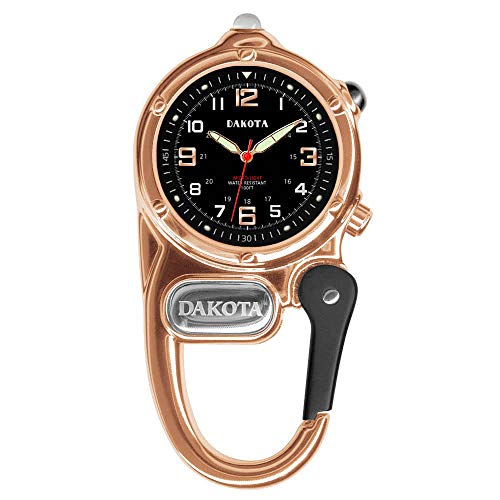 Dakota Clip Watch with LED Flashlight, Mini Clip Microlight Watch, Rose Gold