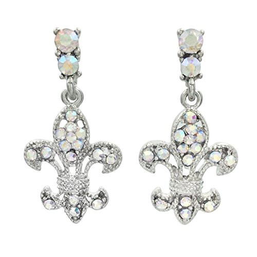 Fleur De Lis Rhinestone Silver Tone Dangle Post Earrings (AB Iridescent)