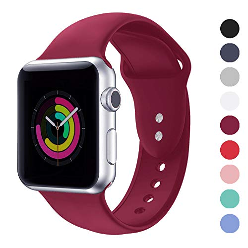 DOBSTFY Sports Band 38mm 40mm 42mm 44mm Soft Silicone Sport Band Replacement Wrist Strap iwatch Accessories Bands Compatible for iWatch Series 4 3 2 1, Nike+,Sport,Edition, 42mm 44mm M/L, Wine Red