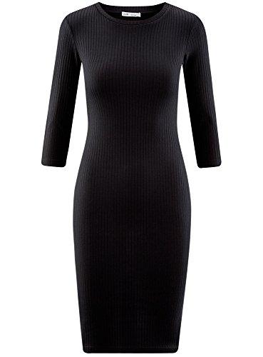 2900n Con Oodji 4 Mujer Acanalado Negro 3 Mangas Ultra Vestido aqqz6I