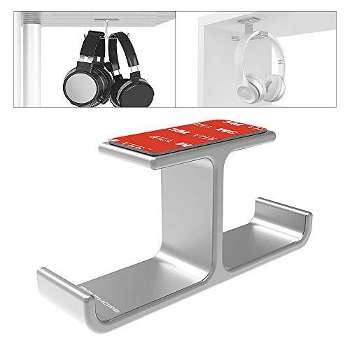 Headphone Hanger, APPHOME Headphones Stand Holder Hook Aluminum Stick-On 3M Adhesive Hooks Under Desk Dual Headsets Mount for All Headphones (Silver)