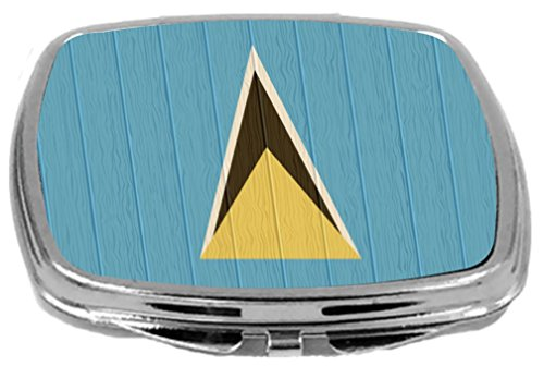 Rikki Knight Compact Mirror on Distressed Wood Design, Saint Lucia Flag, 3 Ounce by Rikki Knight