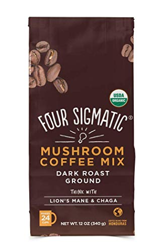 Four Sigmatic Mushroom Ground Coffee - USDA Organic and Fair Trade Coffee with Lions Mane and Mushroom Powder - Focus, Wellness - Vegan, Paleo - 12 Oz - Dark Roast
