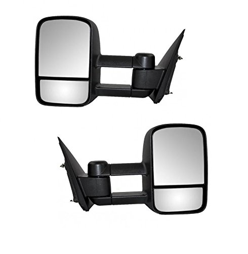 Nona For 1999-2006 Chevy Silverado Sierra GMC Tahoe Suburban Pickup Avalanche Tow Towing Mirrors Manual Telescoping Set Pair Black Housing (Just 99 New Body) 2000 01 02 03 04 05 (Suburban Tahoe Gmc Pickup)
