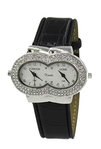 (Women's Crystal-Accented Dual Time Zone Silver Tone Watch with Black Leather)