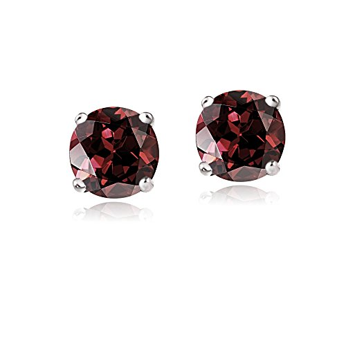 Wedding White Stud (Bria lou 14k White Gold Round-Cut Garnet 6mm Solitaire Gemstone Stud Earrings (2.2ct TGW))