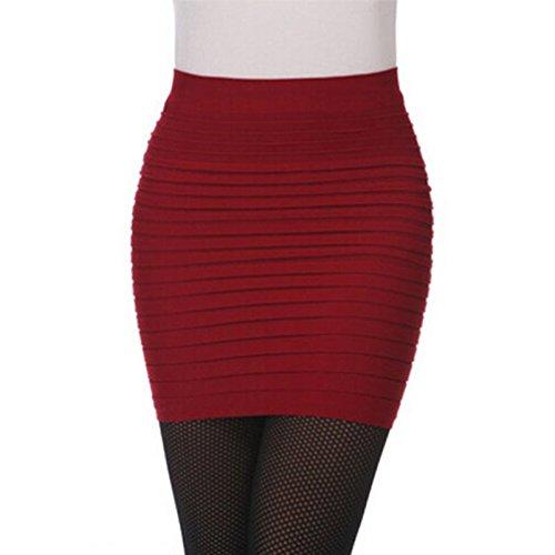 Wool Red Suit Skirt (TOPUNDER Womens Elastic Pleated Skirt High Waist Package Hip Short)