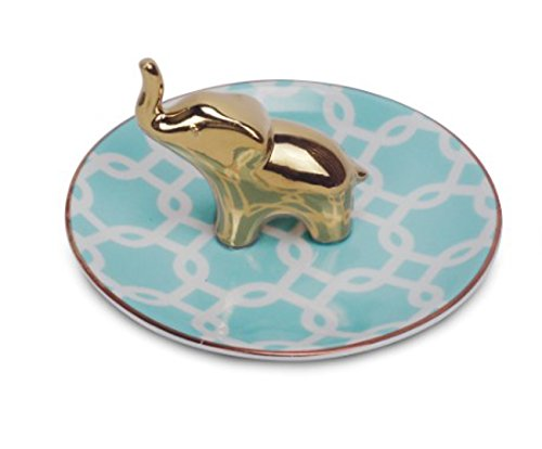 ReLive Patterned Ceramic Ring Holder and Jewelry Tray with Gold Accent Animal Icon (Elephant)