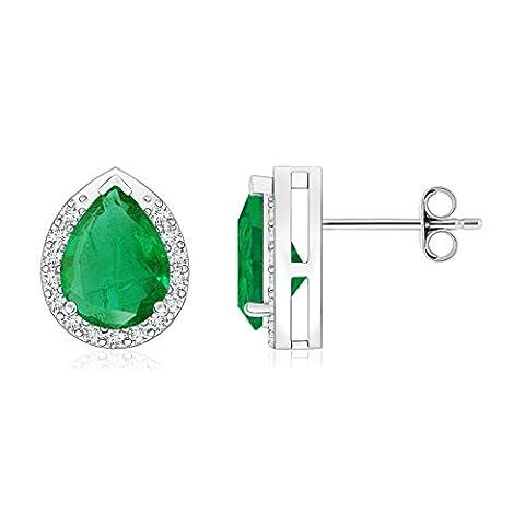 Diamond Halo Pear Shaped Emerald Stud Earrings in Platinum (8x6mm Emerald)