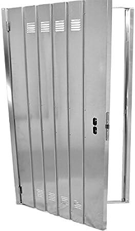 Puerta galvanizada reversible (derecha - izquierda) con tirador incluido, perfecta para trasteros. Dimensiones (altura x anchura): 1,8 m x 80 cm: Amazon.es: Bricolaje y herramientas