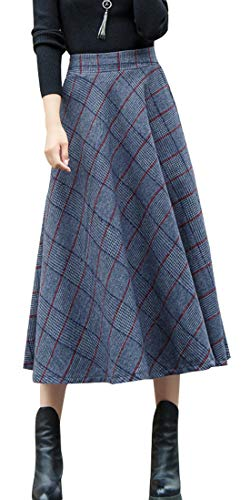 (chouyatou Women's Grey Elastic Waist Wool Blend A-Line Pull-On Long Maxi Plaid Skirt (Small, Red))